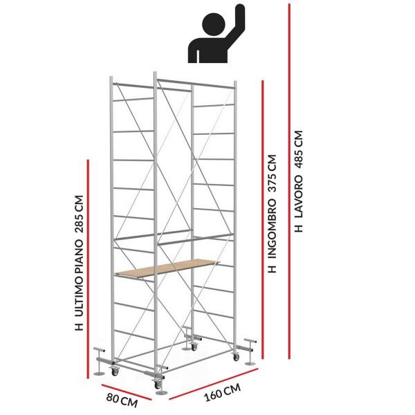Trabattello FAST livellante (Altezza lavoro 4,85 metri)