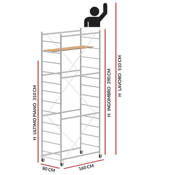 Trabattello JOLLY 160 (Altezza lavoro 5,10 metri)
