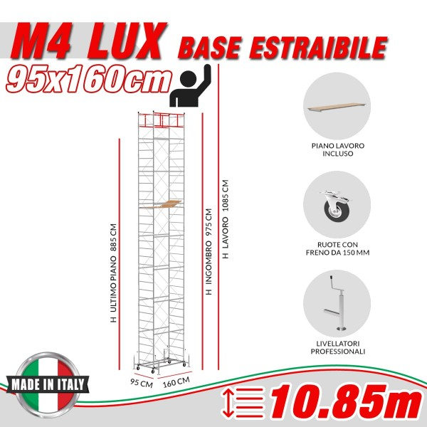 Trabattello M4 LUX base estraibile (Altezza lavoro 10,85 metri)