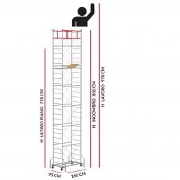 Trabattello M4 LUX base estraibile (Altezza lavoro 9,70 metri)