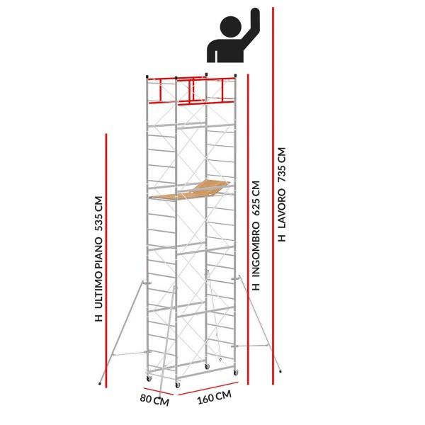 Trabattello M4 LUX base normale (Altezza lavoro 7,35 metri)
