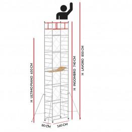 Trabattello M4 LUX base normale (Altezza lavoro 8,50 metri)