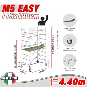 Trabattello M5 EASY (Altezza lavoro 4,40 metri)