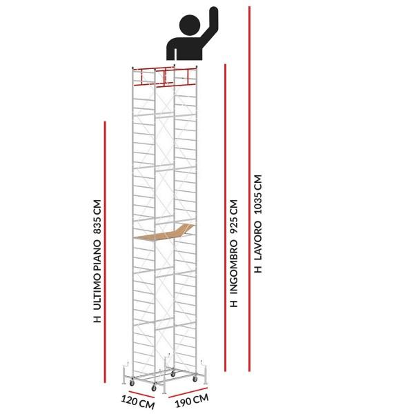 Trabattello M5 LUX (Altezza lavoro 10,35 metri)