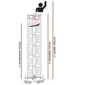 Trabattello M5 SUPERLUX (Altezza lavoro 10,35 metri)