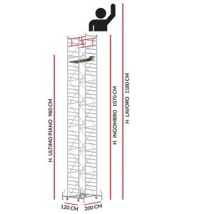 Trabattello M5 SUPERLUX (Altezza lavoro 11,80 metri)