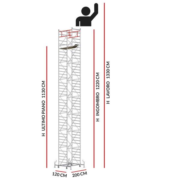 Trabattello M5 SUPERLUX (Altezza lavoro 13,30 metri)