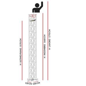 Trabattello M5 SUPERLUX (Altezza lavoro 17,70 metri)