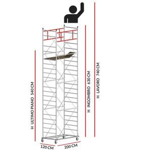 Trabattello M5 SUPERLUX (Altezza lavoro 7,40 metri)