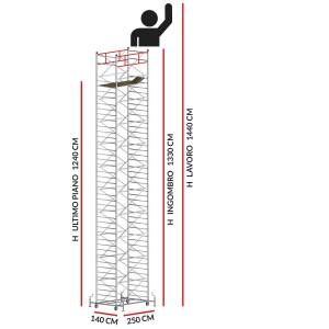 Trabattello TITANIUM PRO (Altezza lavoro 14,40 metri)