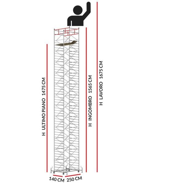 Trabattello TITANIUM PRO (Altezza lavoro 16,75 metri)