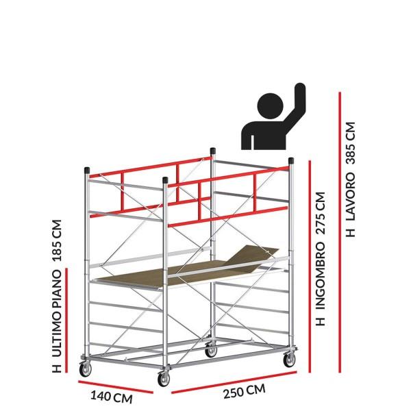 Trabattello TITANIUM PRO (Altezza lavoro 3,85 metri)