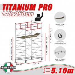 Trabattello TITANIUM PRO (Altezza lavoro 5,10 metri)