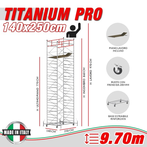 Trabattello TITANIUM PRO (Altezza lavoro 9,70 metri)